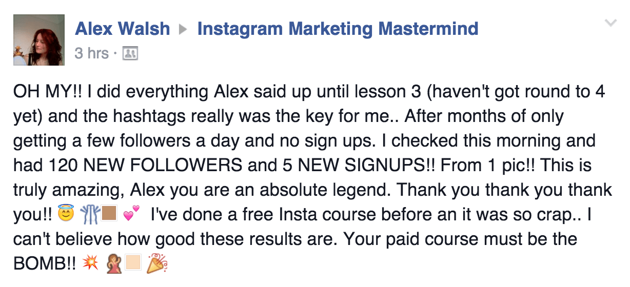 free Instagram course by Alex Tooby