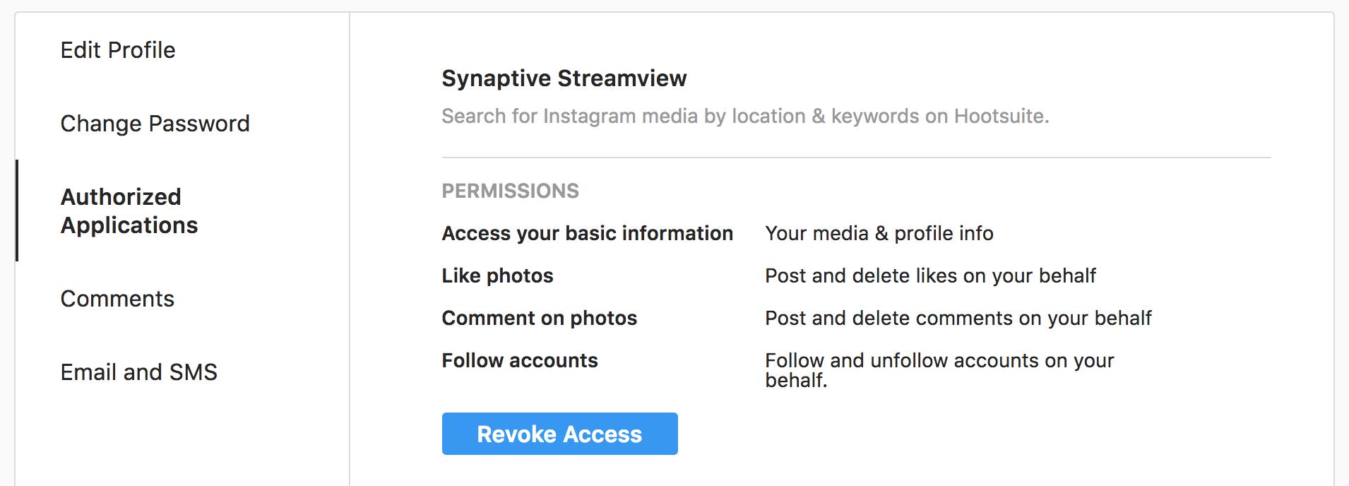 Instagram shadowban - revoke access to apps