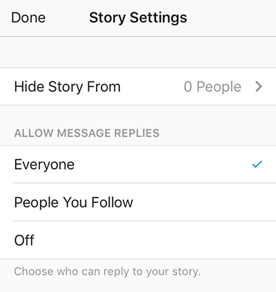 instagram stories settings
