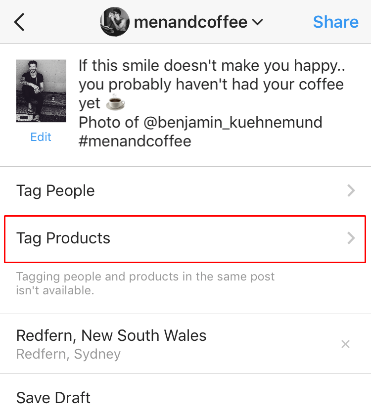 shoppable Instagram - tagging products on Instagram