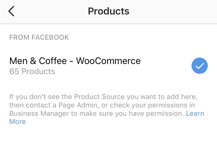 shoppable instagram - selecting a product catalog