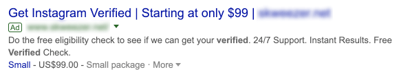 how to get verified on instagram - scam website