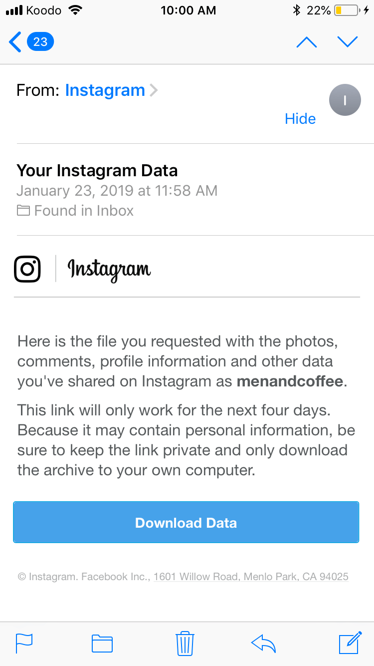 new instagram update - data download feature