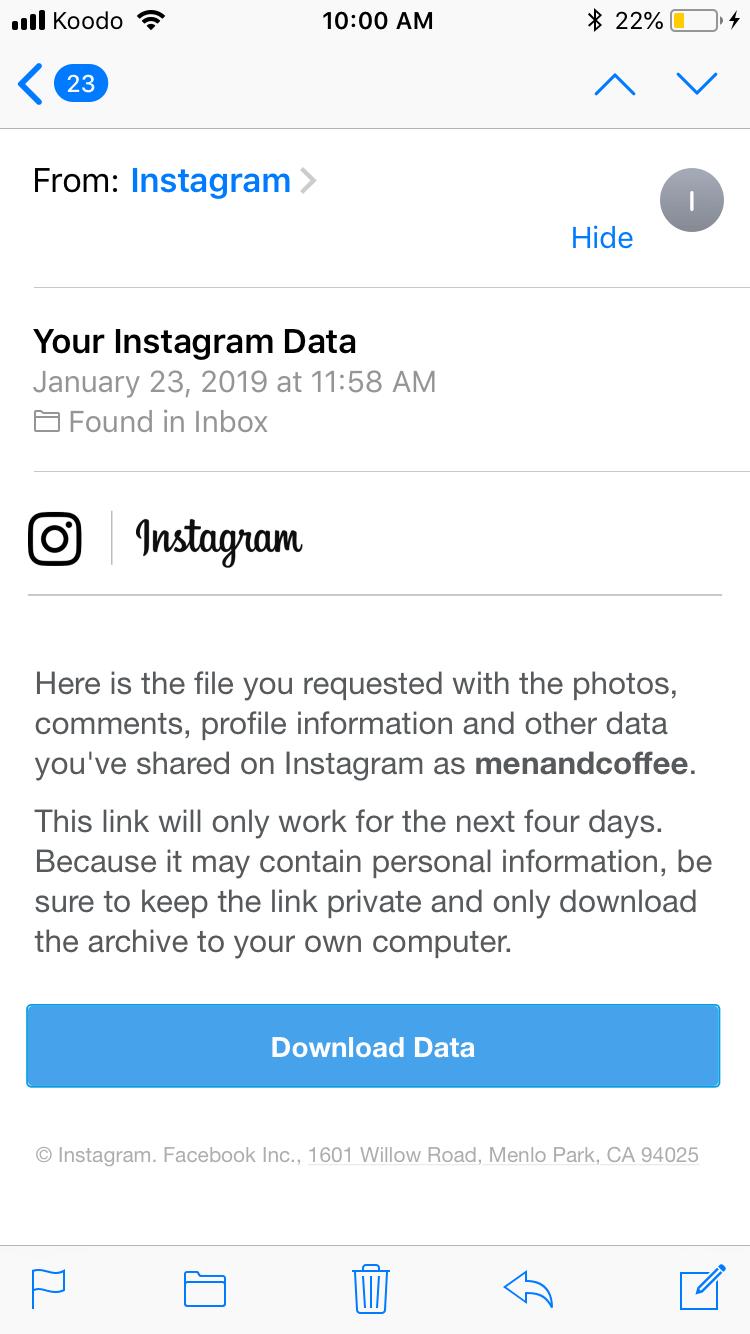 new instagram update - data download feature