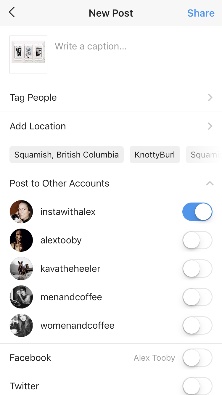 new instagram update - post to multiple accounts feature
